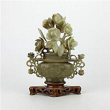 Jade Carved Vase with Floral Carved Detail