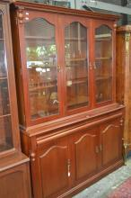 Timber 2 Piece Bookcase w 3 Glass Panel Doors Above 2 Drawers & 3 Doors