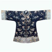 Chinese Navy Blue Silk Robe