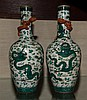 FINE PAIR CHINESE FAMILLE VERTE 'CORAL DRAGON'  VASES, QIANLONG MARK, each ovoid shaped body decorated with five-clawed dragons am...