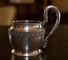 A heavy Russian silver mug