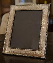 A extra large Sterling Silver photo frame with hammmertone finish; 260mm x 320mm