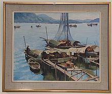 Leonard Long (1911-2013), 'Among the Sampans, Hong Kong 1964', oil on canvas, 61 x 75cm, signed and dated lower right.