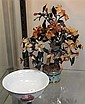 Chinese Carved Stone Tree in Cloisonne Pot & a Ceramic Bowl