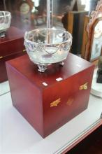 Selangor Pewter & Glass Dish on Stand in a Fitted a Box