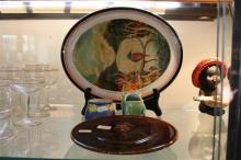 Fowler Unmarked Aboriginal Plate with Other Australian incl a Irvine Homer Painted Plate & a Ada Newman Vase