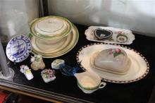 Wedgwood Black Basalt Pin Dish with Other Ceramics incl Crown Devon Butter Dish