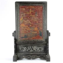 Ornate Chinese Carved Lacquer Table Screen