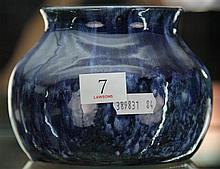 John Campbell Blue Glaze Squat Vase, Height - 10cm