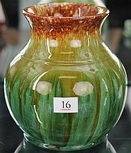 John Campbell Green & Rust Glaze Vase, Height - 17cm