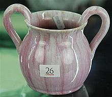 John Campbell Pink Glaze Double Handled Vase, Height - 12cm