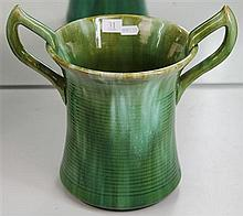 John Campbell Green Glaze Ribbed Vase with Unusual Double Handles, Height - 26cm