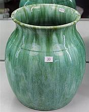 John Campbell Green Glaze Vase of Heavy Form with Hairline Crack, Height - 34cm