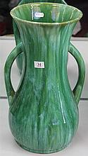 John Campbell Green Glaze Double Handled Baluster Vase, Height - 39cm