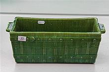 John Campbell Green Glaze Pickett Fence Trough, Length - 35cm