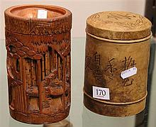 Chinese Carved Bamboo Lidded Container & a Ceramic Example