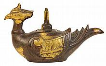 Chinese Bronze & Gilt Splash Bird Shaped Receptacle