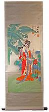 Chinese Hand Painted Scroll of Two Ladies