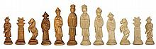 Chinese Bone Carved Chess Set