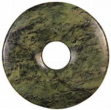 Chinese Bi-shaped Spinach Jade Disc