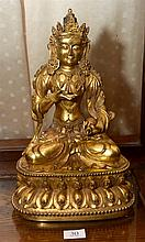 CHINESE GILT BRONZE FIGURE OF VAIRASATTVA, XUANDE MARKS H: 25.5cm