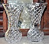 A PAIR OF TALL HAND CUT LEAD CRYSTAL MANTLE VASES