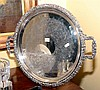 A LARGE HECWORTH SILVER PLATE DOUBLE HANDLE CIRCLUAR TRAY