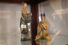 Tang Style Sancai Glaze Pair of Burial Figures