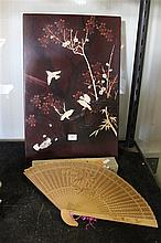 Japanese Shibayama and Lacquer Panel w Trade Label and Sandalwood Carved Fan w Box