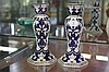 Blue & White Pair of Candlesticks