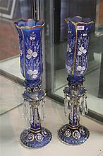 Pair of Late 19th Century Hand Painted Glass Lustres