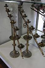Pair of Large Brass Seven Branch Church Candelabra