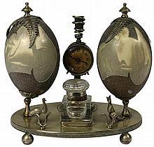 Emu Egg Carved Silver Plated Desk