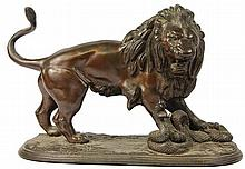 Bronze Figure of Lion Figting a Snake