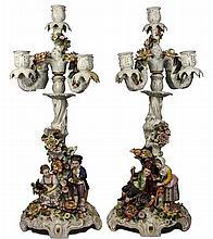 German Pair of Figural Candelabra