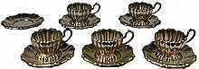 Austro-Hungarian Silver Set of Five Cups & Saucers