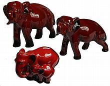 Royal Doulton Flambé Group of Three Graduated Elephants