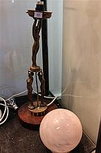 Art Deco 3 Figure Lamp with Ball Shade