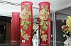 Pair of Tall Glass Vases with Enamelled Floral Decoration