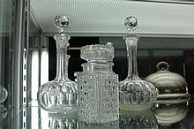 Pair of Crystal Decanters and Lidded Jar