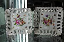 Pair of Dresden Pierced Square Bowls with Hand Painted Flowers
