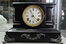 Ansonia Black Metal Mantel Clock (key & pendulum in office)