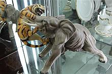Ceramic Figure Group of a Tiger Attacking an Elephant