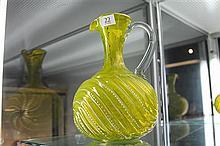 Victorian Uranium Glass Enamelled Jug