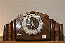 Art Deco Mauthe Mantle Clock with Key & Pendulum