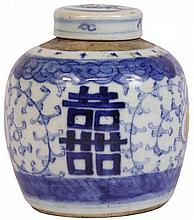 Chinese Blue & White Double Happiness Ginger Jar