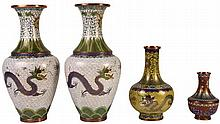 Chinese Cloisonne Pair of Vases & Two Others