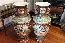 Pair of Large Chinese Double Handled Vases in Turquoise and Red with Central Cartouches Depicting Court Scenes