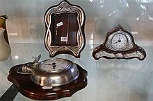 2 Pewter and Timber Clocks and Frame
