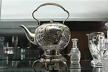 Hardy Bros Small Silver Plated Kettle on Warming Stand
